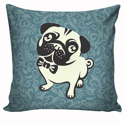 Capa de almofada Pug azul