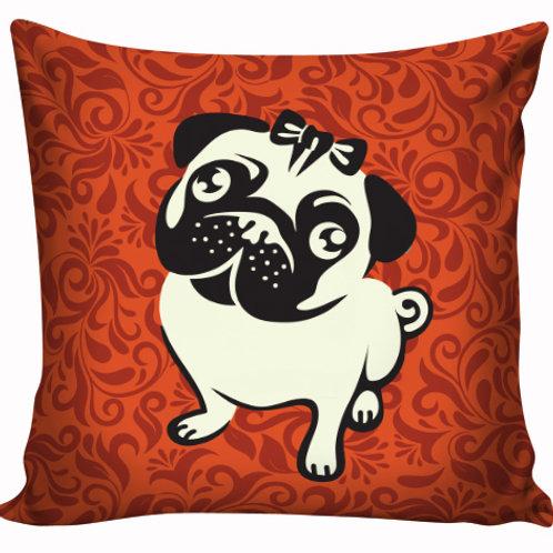 Capa de almofada Pug Vermelho