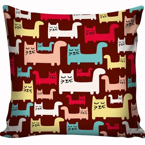 Capa de almofada Gatos fundo marrom