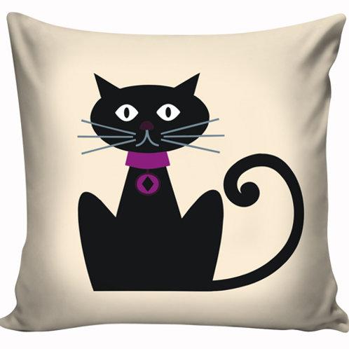 Capa de almofada Gato Preto coleira vinho