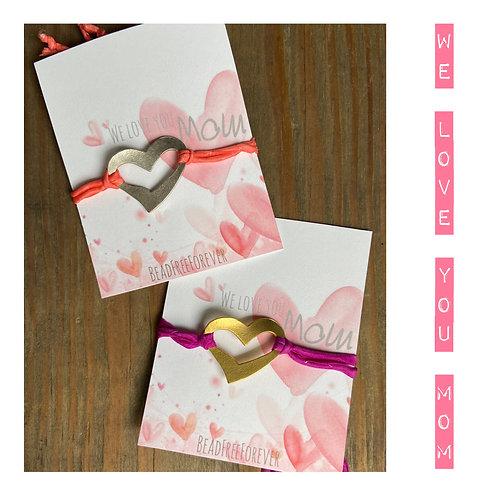 Hand Dyed Silk Heart Slider Bracelet