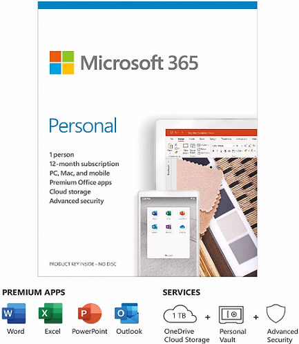 Microsoft 365 Personal | Office 365 apps, 1 User, 1 Year