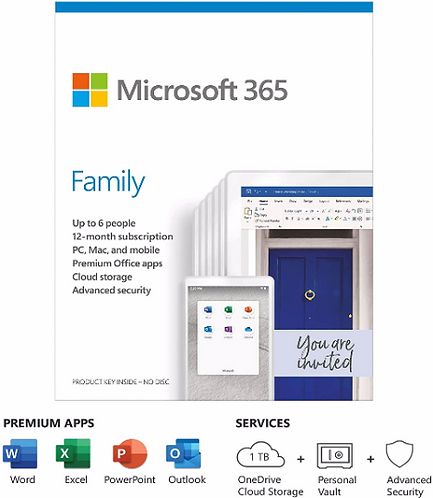 Microsoft 365 Family | Office 365 apps, 6 users, 1 year subscription