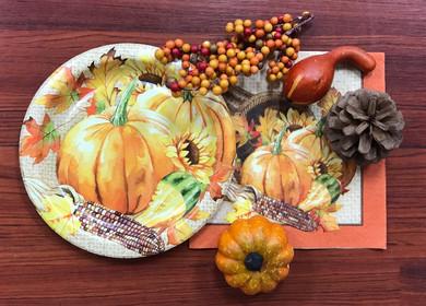 """Pumpkin perfect"" place-settings; Fall Luncheon, November 2017."