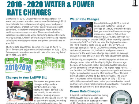 2016 – 2020 Water & Power Rate Changes