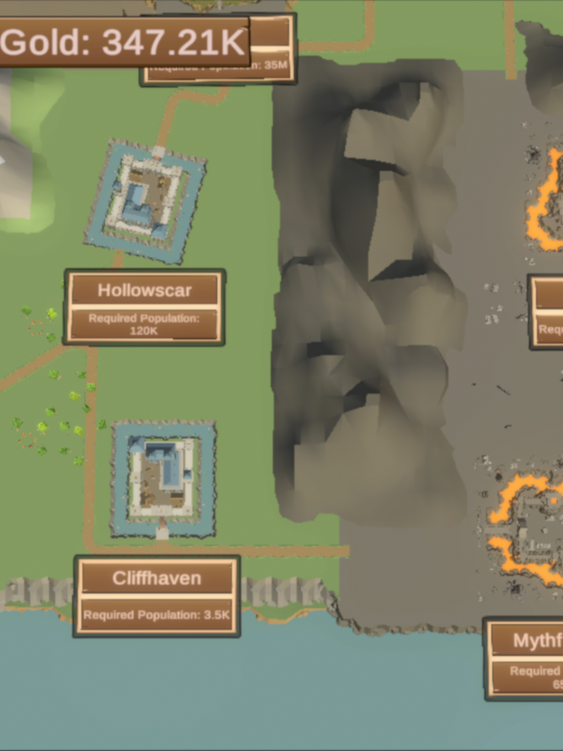 World Map Showing the Human and Undead City Locations