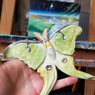 A luna moth sculpted from expoxy resins