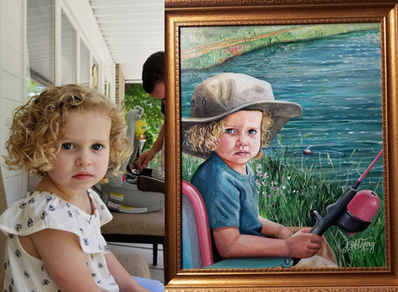 An artistic portrait commission of a little girl