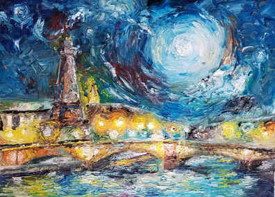 Oil on canvas fine art painting of Paris at night