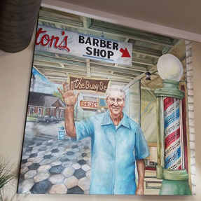 I constructed this approximately 6'x6' canvas and created this acrylic and oil on canvas portrait of Billy Bankston Sr. who was a barber in Barnesville, GA