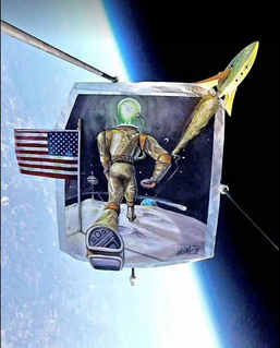 """""""One Giant Leap"""" This is the art a brewery and I partnered to send to near space.  It was featured on the CNN Facebook page and a video is under the, """"Media"""" tab on this site if you'd like to view more about this adventure"""
