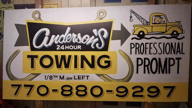 Hand lettered logo I digitized and then painted for a sign