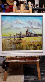 """""""Family in Fall"""" An old Idaho farmstead commissioned by a client of their family home.  Latex on glass"""