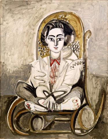 Pablo Picasso, Jacqueline im Schaukelstuhl, 1954, Öl auf Leinwand, Sammlung Catherine Hutin © Succession Picasso/VG Bild-Kunst, Bonn 2019. Photo: Claude Germain