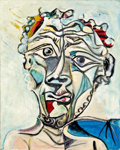 Pablo Picasso, Kopf eines Mannes, 1971, Öl auf Leinwand, Sammlung Catherine Hutin © Succession Picasso/VG Bild-Kunst, Bonn 2019. Photo: Claude Germain