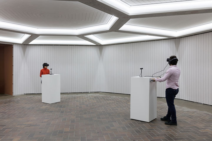 Jordan Wolfson Real violence, 2017 virtual-reality headset, headphones, high-definition video, color, sound 2:25 min dimensions variable copyright the artist; courtesy Sadie Coles HQ, London photo: Andrea Rossetti