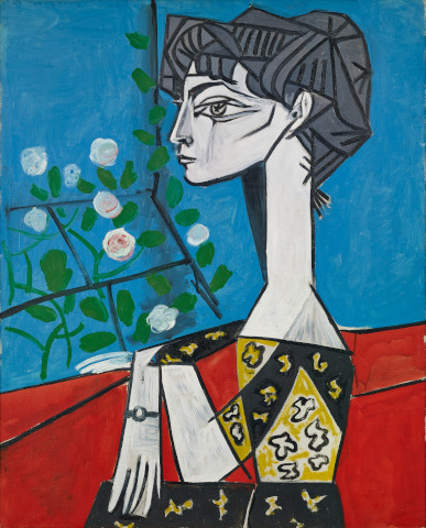 Pablo Picasso, Madame Z (Jacqueline mit Blumen), 1954, Öl auf Leinwand, Sammlung Catherine Hutin © Succession Picasso/VG Bild-Kunst, Bonn 2019. Photo: Claude Germain