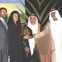 Dave & Anita Reilly receiving Khalifa International Date Palm Award for Best New Development Project, Abu Dhabi 2010