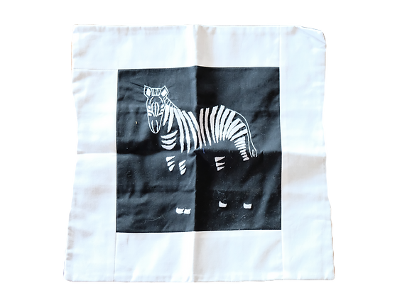 Embroidered Zebra Cushion Cover