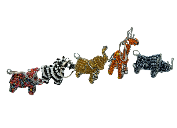 Assorted 3D wire Bead Animal Keyrings