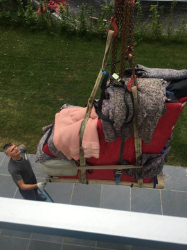 Moving a piano with a crane in Cornwall
