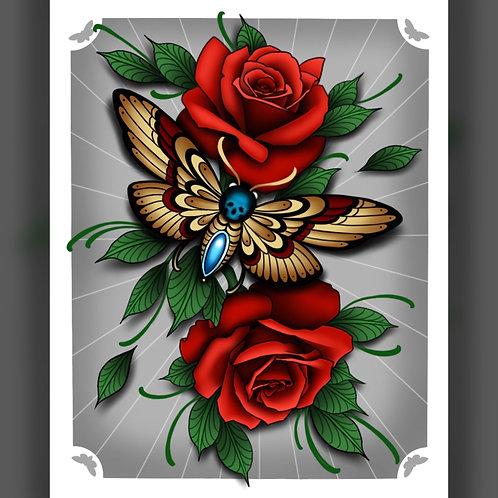 Moth/Roses Print