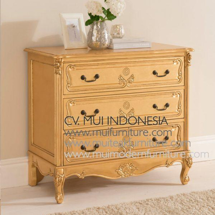 Mahogany Furniture Baroque Full Gold Chest 3 Drawer