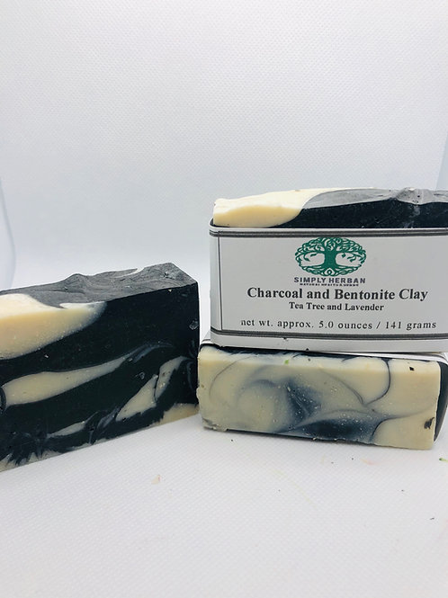 Charcoal and Bentonite Clay Handcrafted Soap (Tea Tree and Lavender)