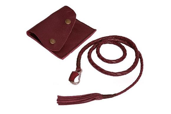 Lasso Indiana Violett Halskette mit Ledertasche