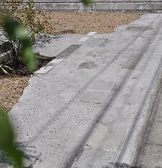 洗い出し仕上げ・塀を解体した材を再利用