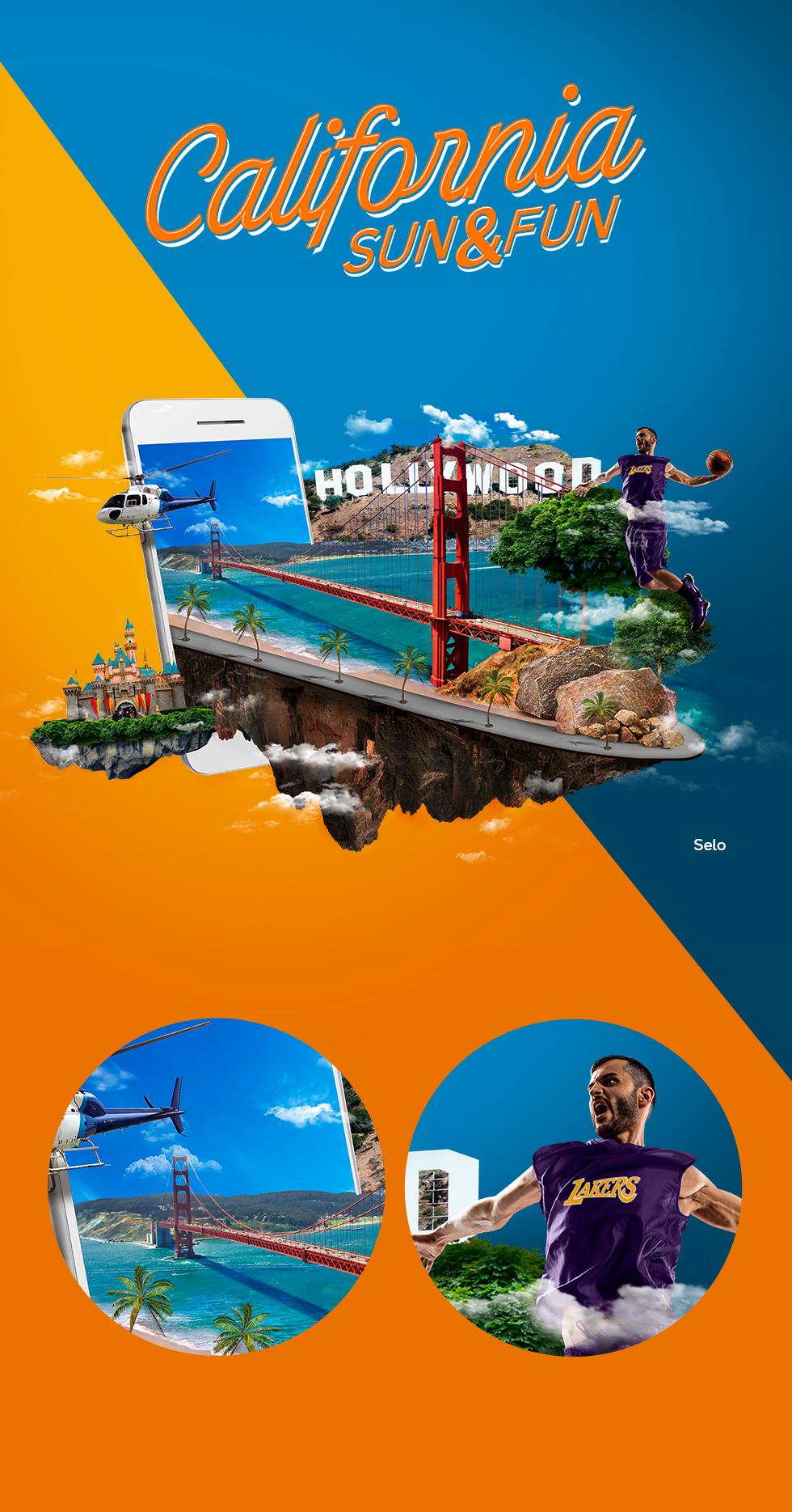 California Sun & Fun é uma campanha de viagem internacional criada para uma escola de inglês de Franca, SP.