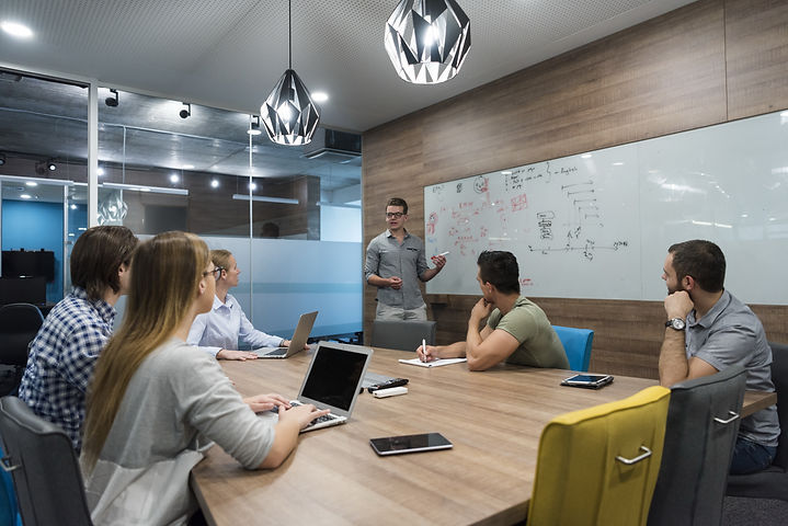startup business team brainstorming on m