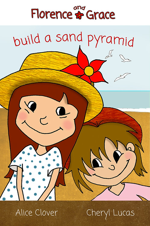 Florence and Grace build a sand pyramid