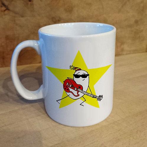Mug, star, guitar, musician, birthday, gift, cup, cartoon, funny, tea, coffee