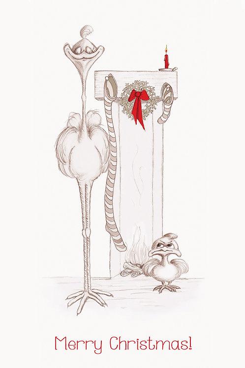 christmas card, birds, cute, drawn, funny