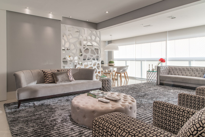 Sala de estar ampla integrada a varanda