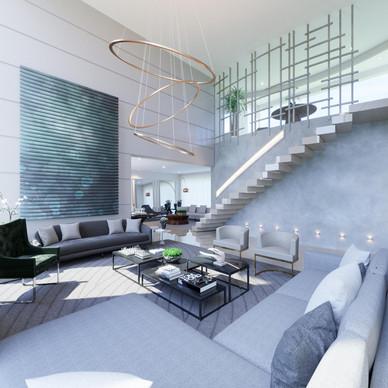 3D proposta de layout - sala com pé direito duplo