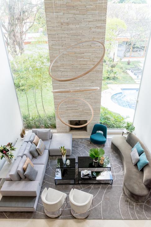 Vista superior de sala de estar