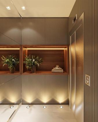 3D hall social com iluminação de piso e