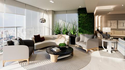 3D varanda com sofá curvo e jardim vertical
