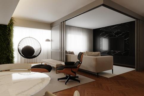 3D Sala de TV com painel de mármore e ba