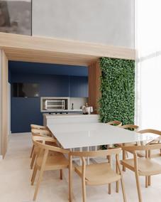 3D sala de jantar - churrasqueira moderna e jardim vertical