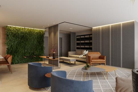 3D apartamento moderno com ambiente semi-integrado e balanço
