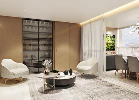 Sala com porta camuflada e cristaleira p