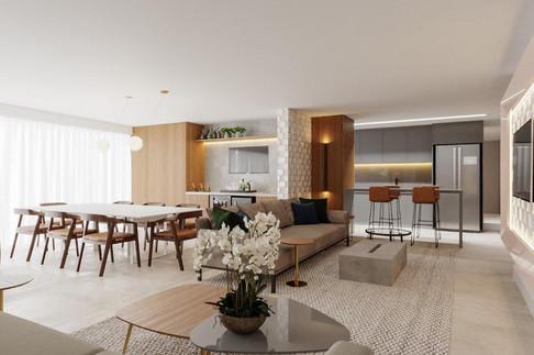 3D apartamento com ambientes integrados