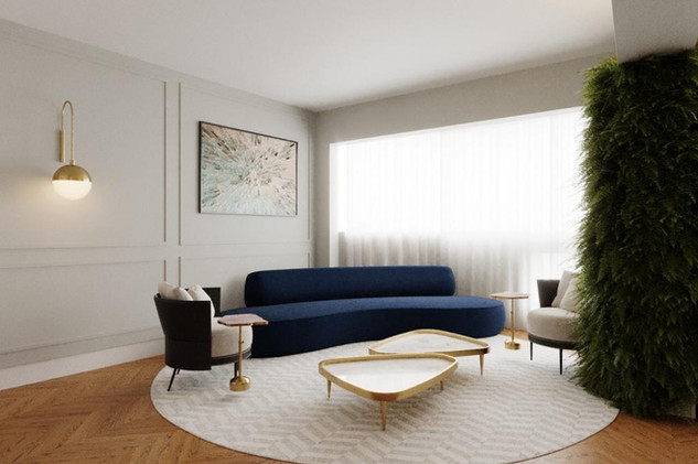3D Living com boiseries, sofá curvo e ja