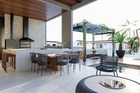 3D varanda com churrasqueira e área gourmet