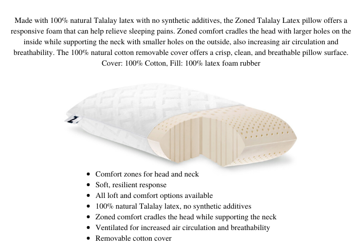Zoned Talalay Latex