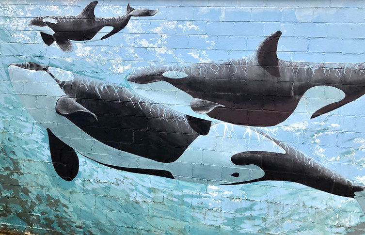 """Unknown Artist; """"Whales at Sea""""; Seaside, OR"""