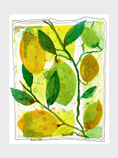 Lemon Lime Abstract • Watercolor Print